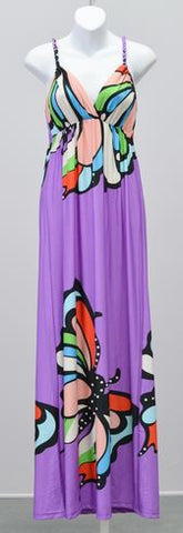 India Boutique Diffusion Butterfly Print Maxi Dress