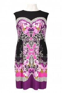 London Times Cap Sleeve Print Dress