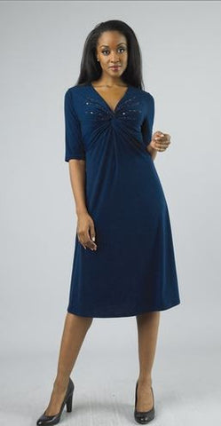 Elegance by Milano 4693W Beaded Twist Knit Dress