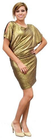 Queen Collection Sequined Dolman Sleeve Dress