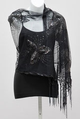 Sequined Mesh Scarf
