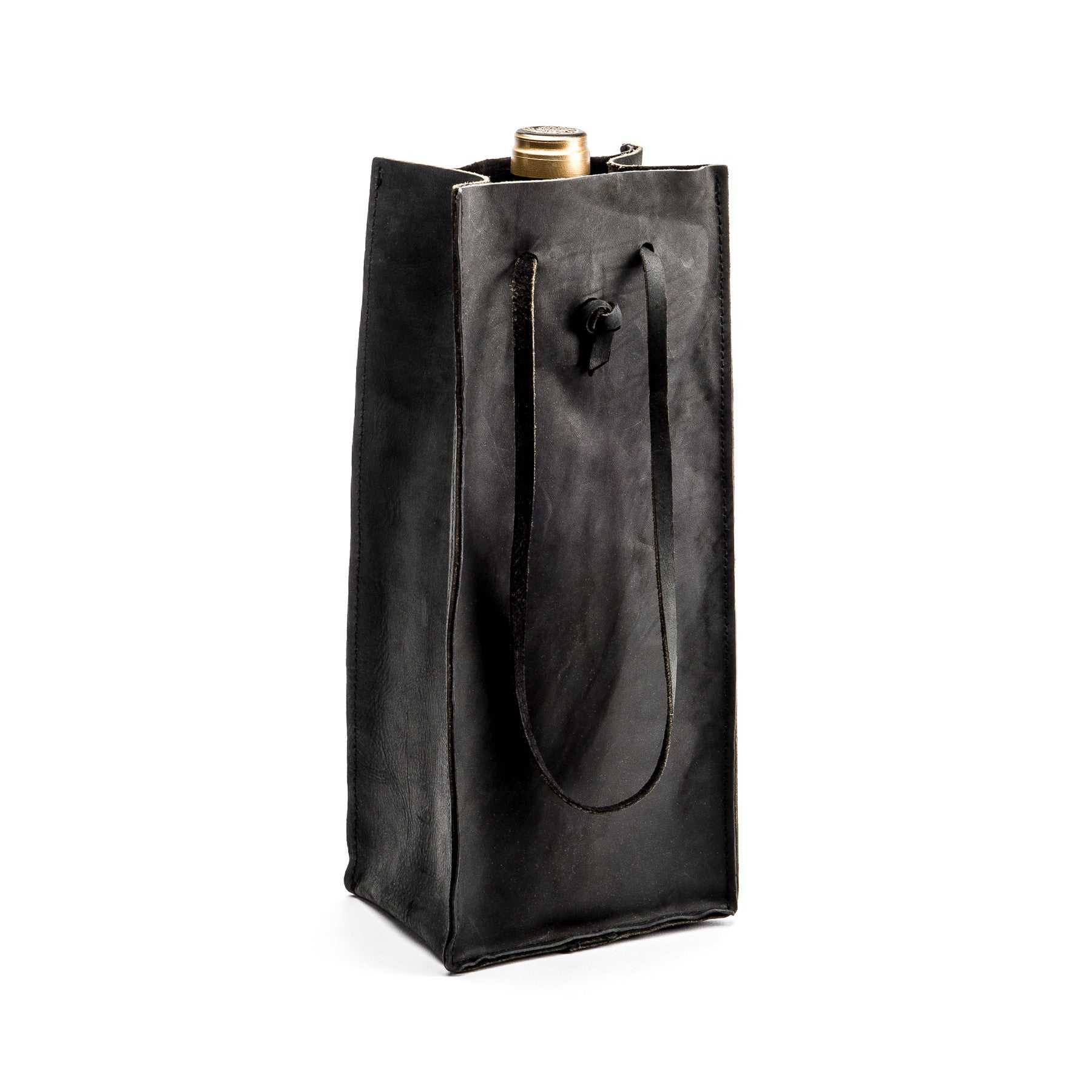 Leather Wine Tote in Nero - Peter Nappi - 1