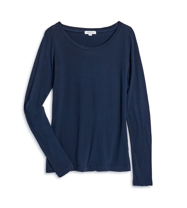 Women's Basis Round Neck Long Sleeve - Navy