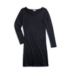 Woman's Boat Neck LS Shirt Dress - Black