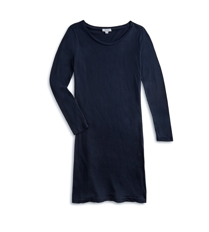 Woman's Boat Neck LS Shirt Dress - Navy