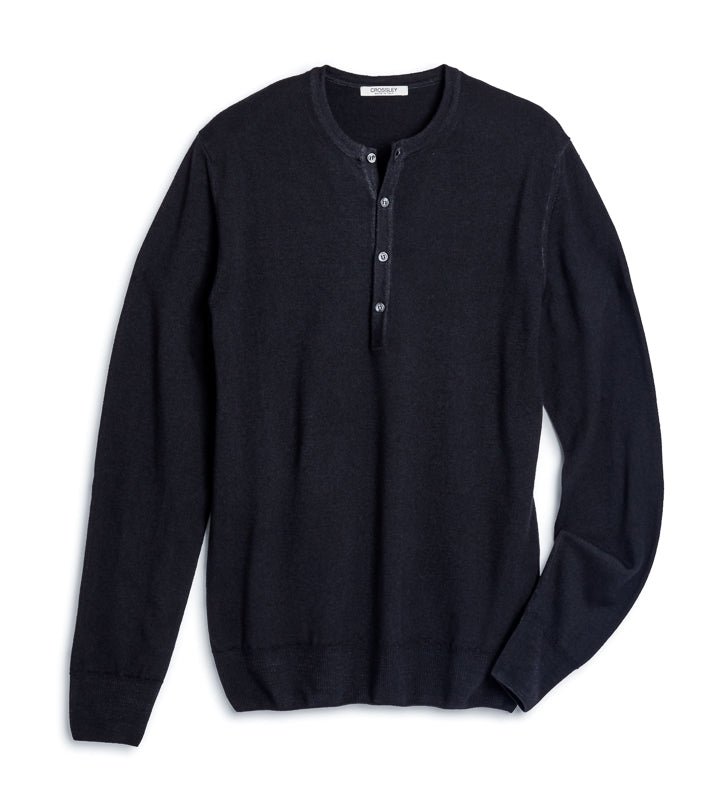 Men's Knit Long Sleeve Henley - Black
