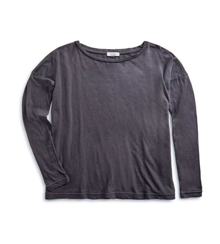Woman's LS Boat Neck T-Shirt - Grey