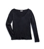 Women's Long Sleeve V-Neck Tee - Black