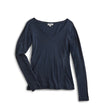 Women's Long Sleeve V-Neck Tee - Navy
