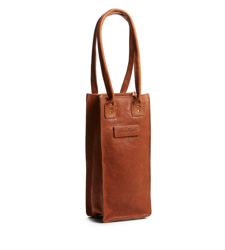 Leather Wine Tote in Marrone