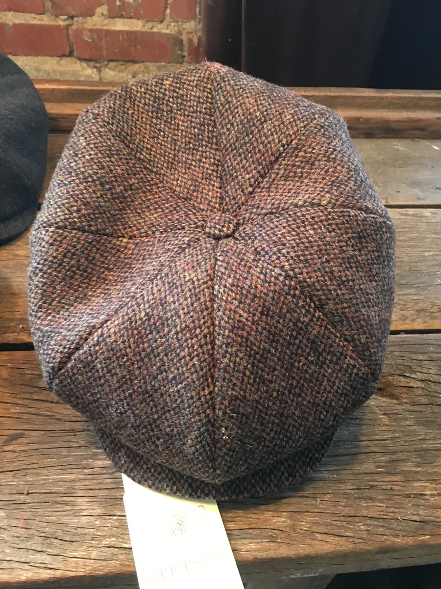 Stetson 8-Panel Sportcap in Harris Tweed, 016 Brown
