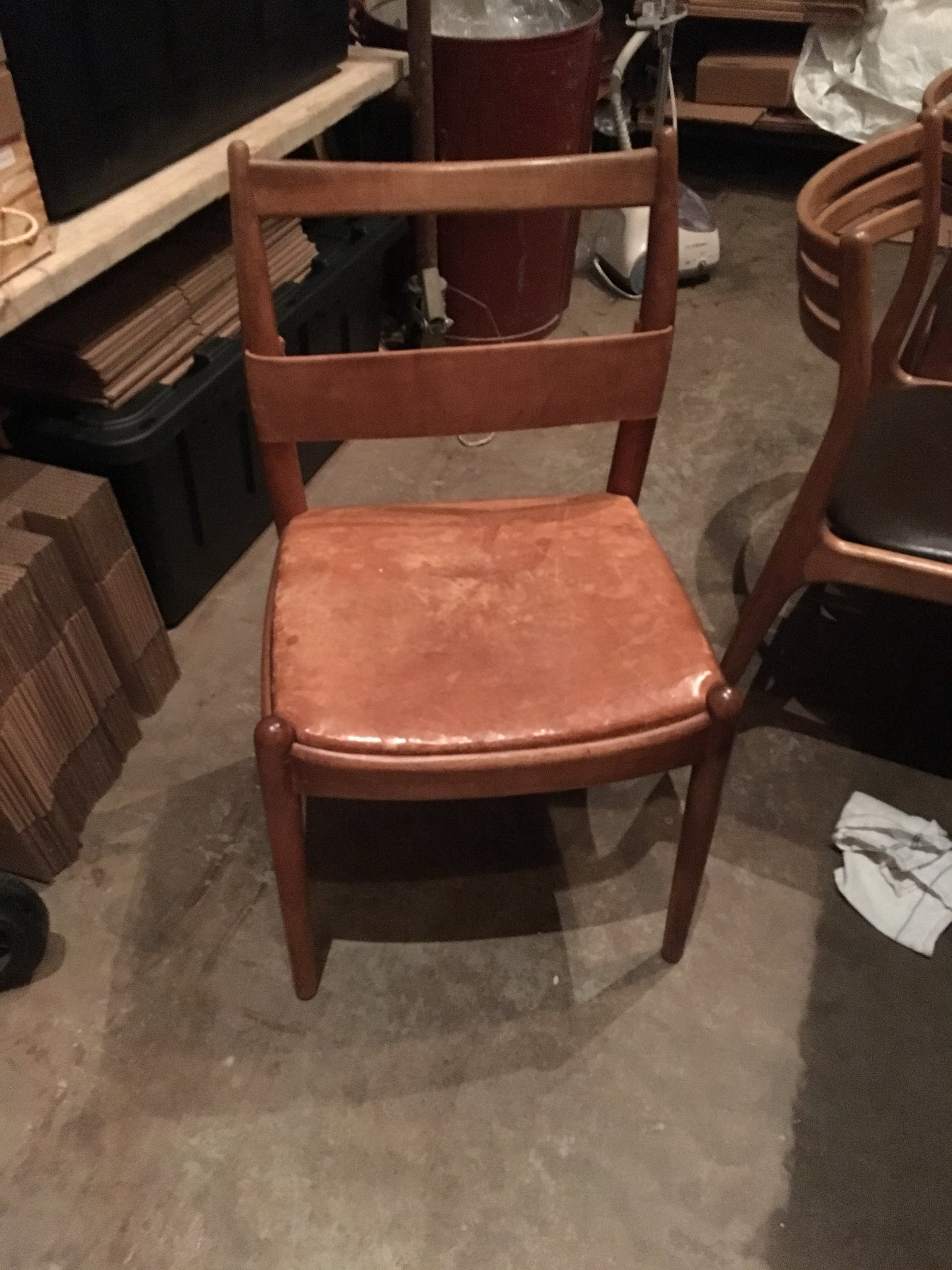 Wood and Vintage Leather Dining Chairs