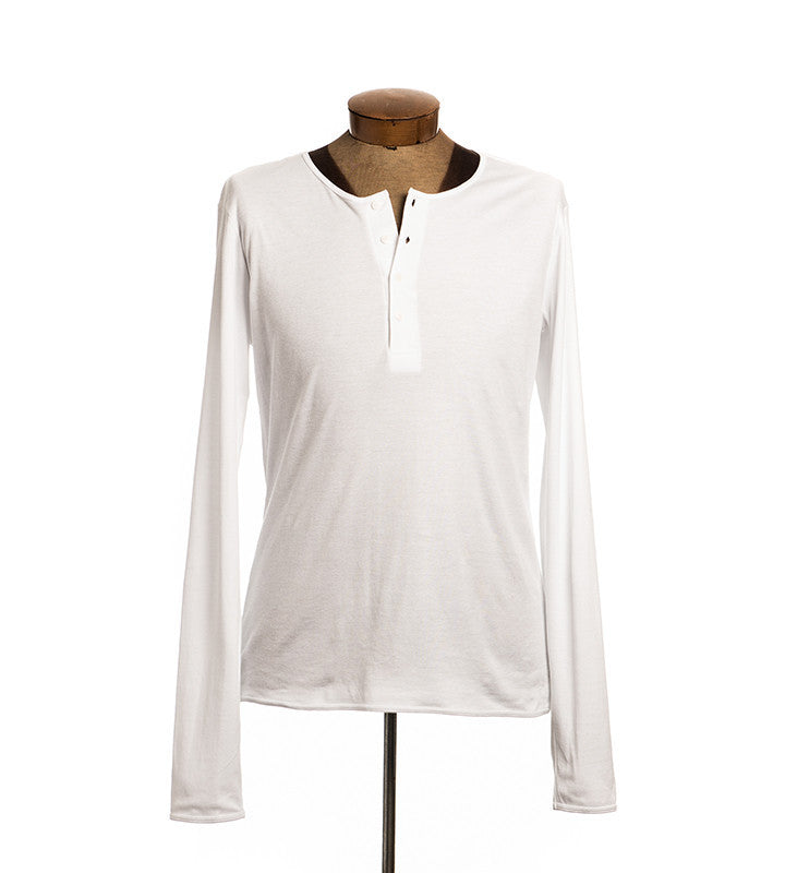 White Long Sleeve Henley - Men's