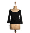 Black 3/4 Sleeve Scoop Neck - Women's