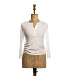 White Long Sleeve Henley - Women's