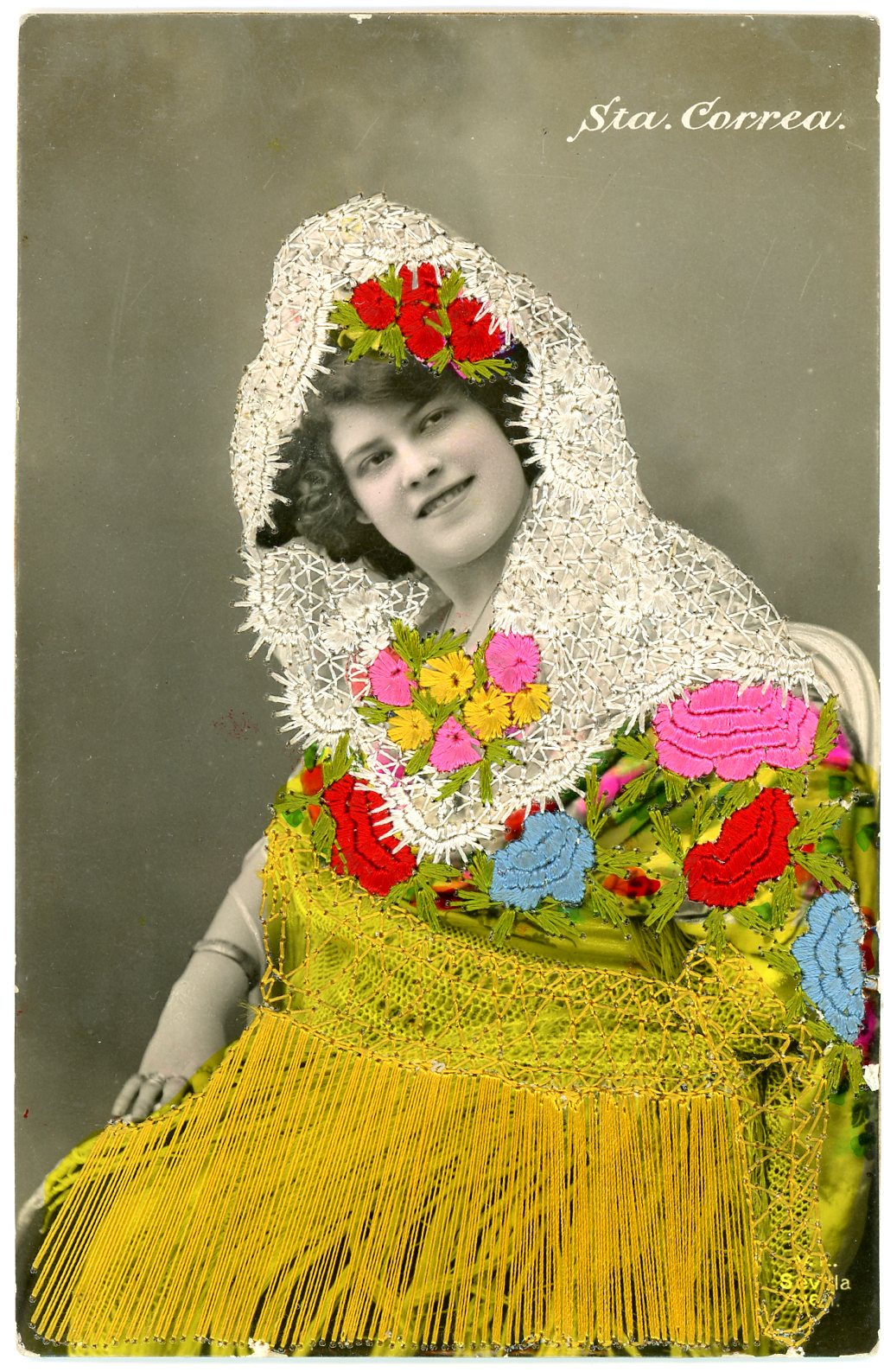 Embroidered photo postcard, Maker unknown, Spain, ca.1910