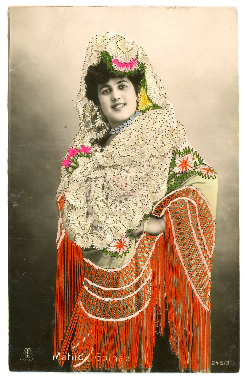 Embroidered photo postcard, Published by Singer Sewing Machines, Portugal, ca.1910