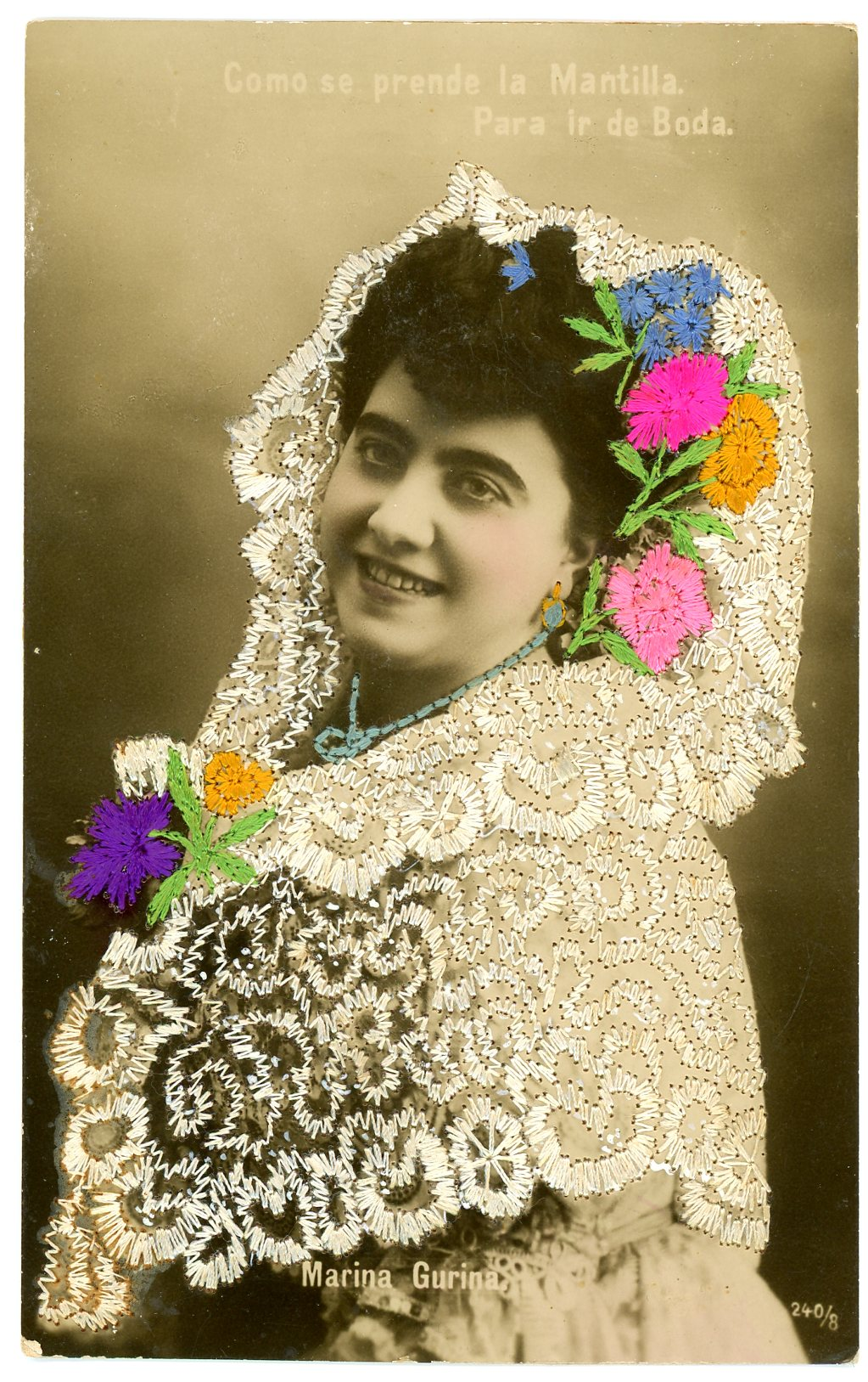 Embroidered hand tinted photo postcard, Maker unknown, Portugal, ca.1915