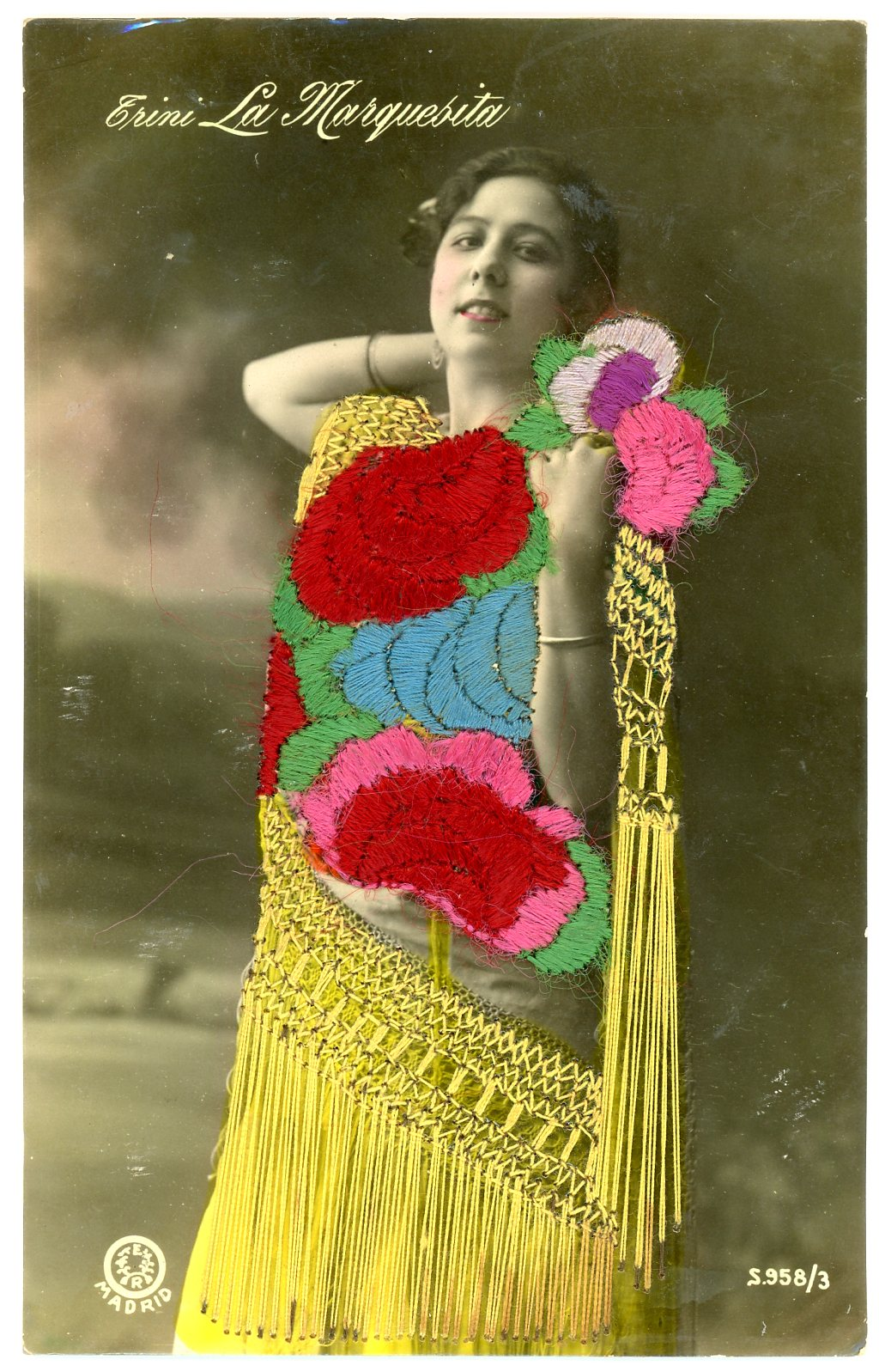Embroidered hand tinted photo postcard, Maker unknown, Spain, ca.1915