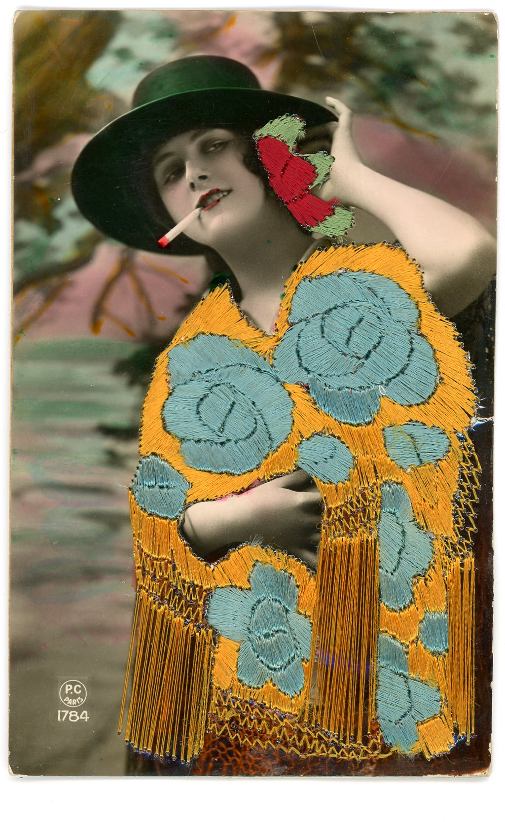 Embroidered hand tinted photo postcard, Maker unknown, Spain and France Publishers ca.1920