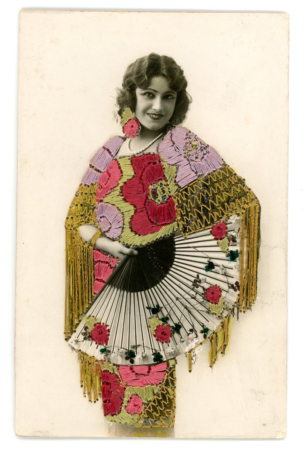 Embroidered photo postcard, Maker unknown, Spain, ca.1930