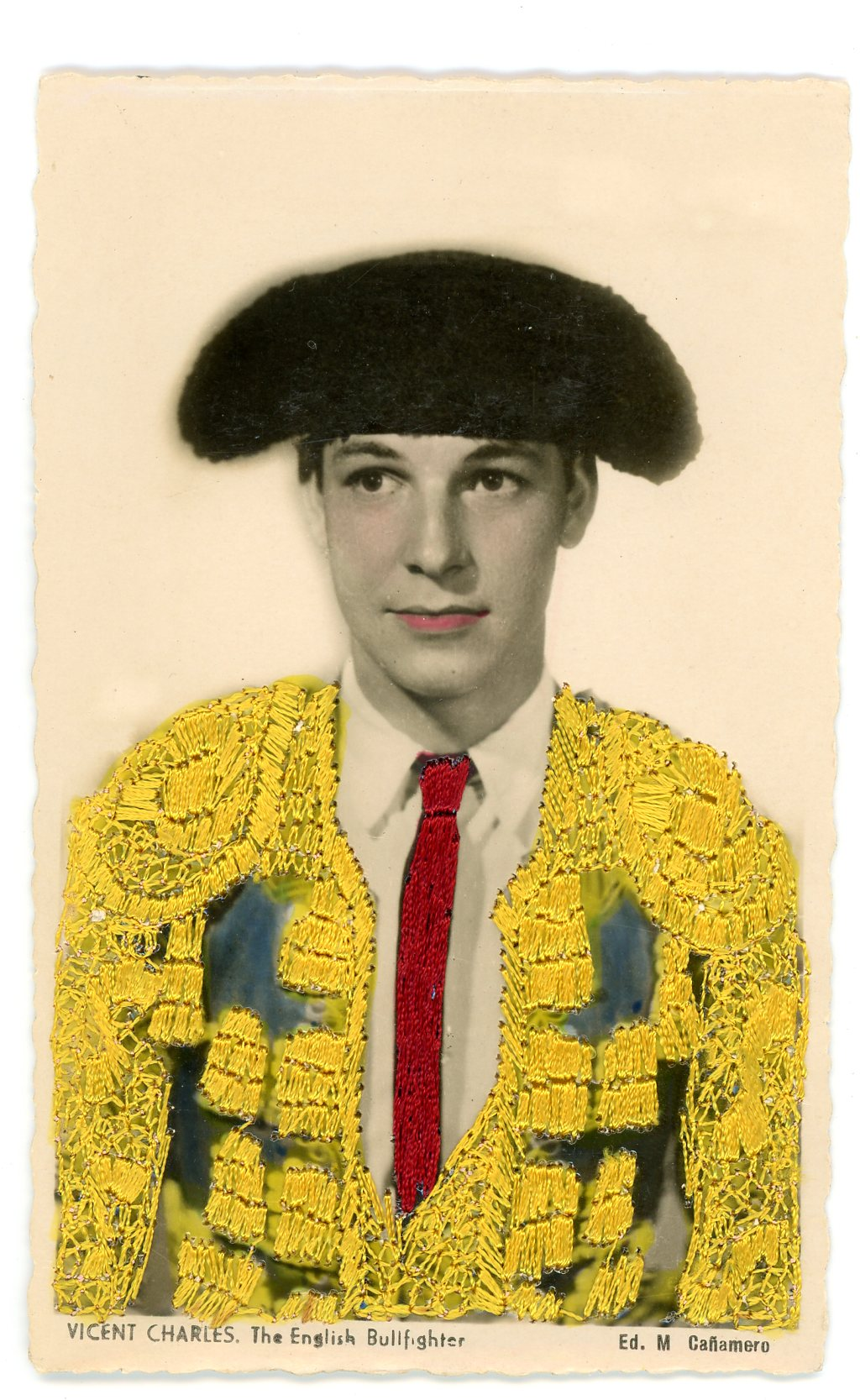 Embroidered photo postcard, Maker unknown, Spain, ca.1940