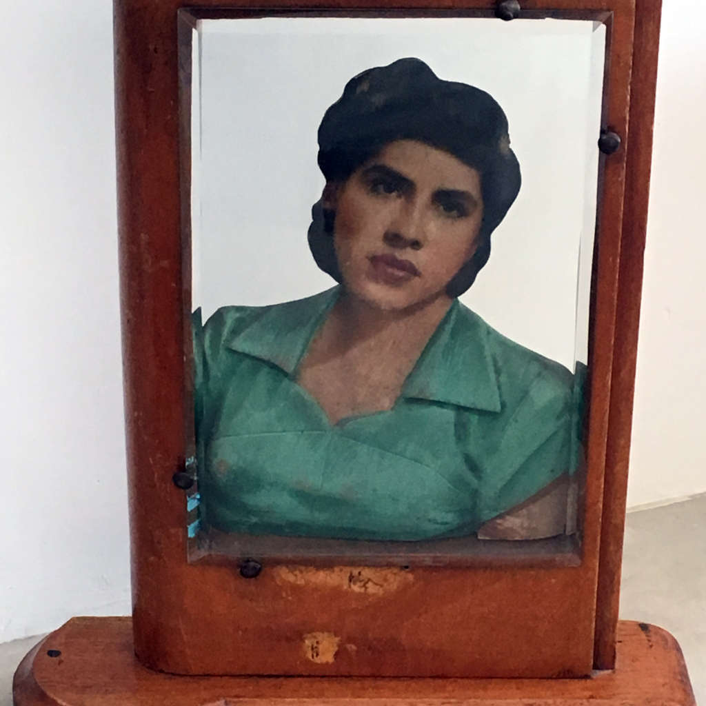 """Maker unknown, wood carving with hand-painted photograph, ca.1940, 12 x 10 x 3"""""""