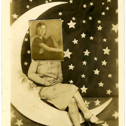Collage of woman sitting on moon and photo of girl super imposed on her head