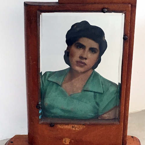 Framed, hand-painted portrait of woman