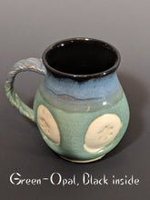 Load image into Gallery viewer, Pottery mug, snowflake design with handle