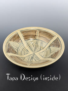 Pottery bowl, stoneware, tapa design