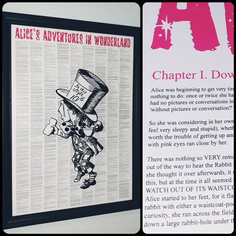 Alice's Adventures In Wonderland Mad Hatter Full Novel Text Print
