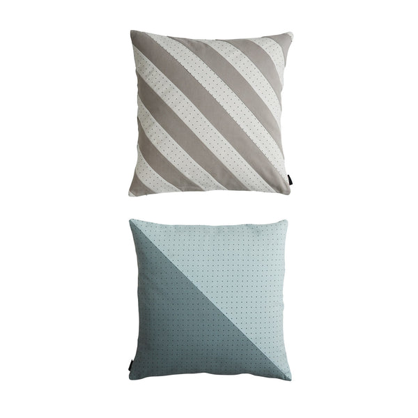 Dotti Cushion - Pale Blue / White