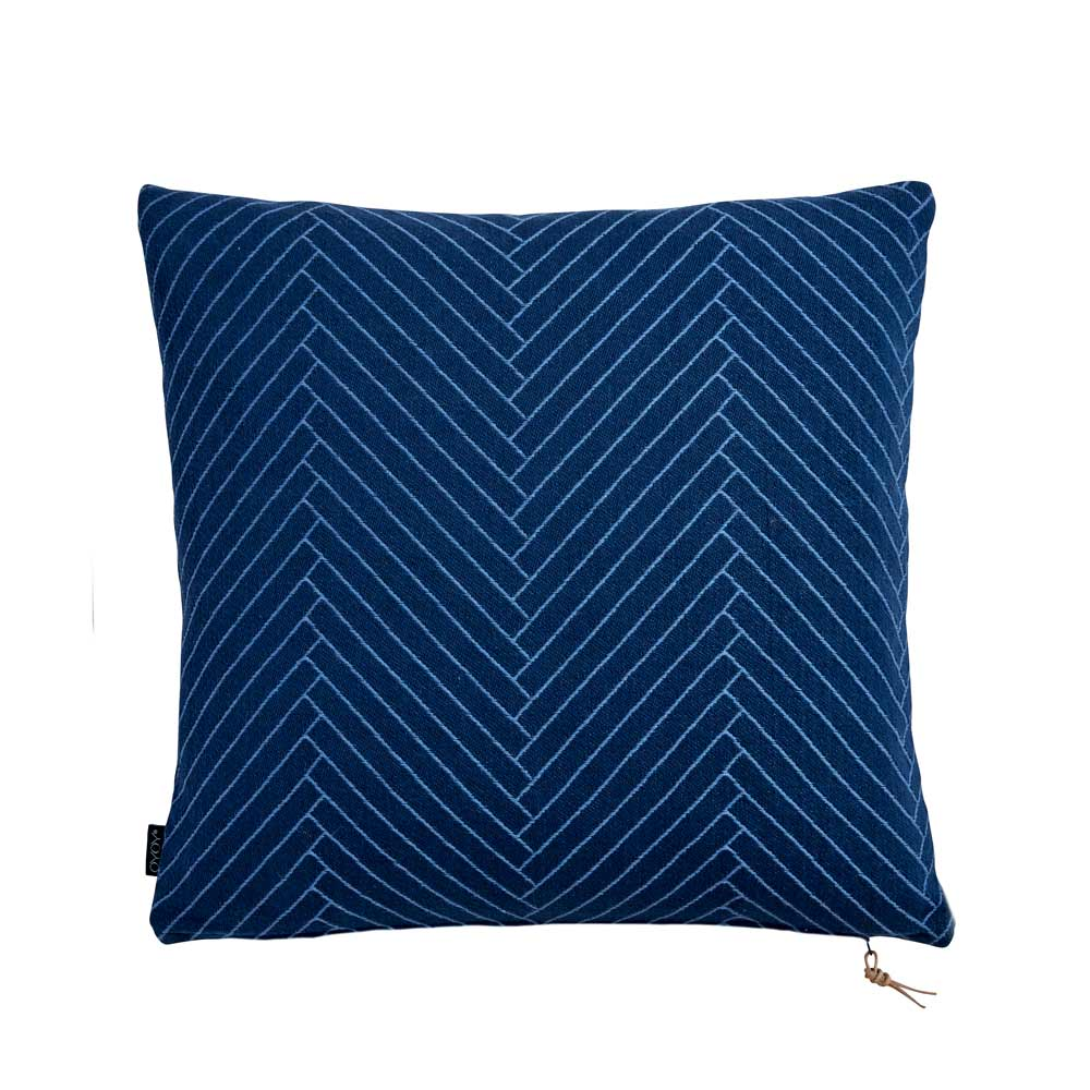 Fluffy Herringbone Pillow in Dark Blue