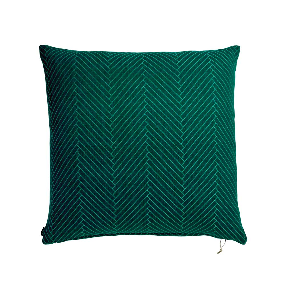 Fluffy Herringbone Floor Cushion - Dark Green