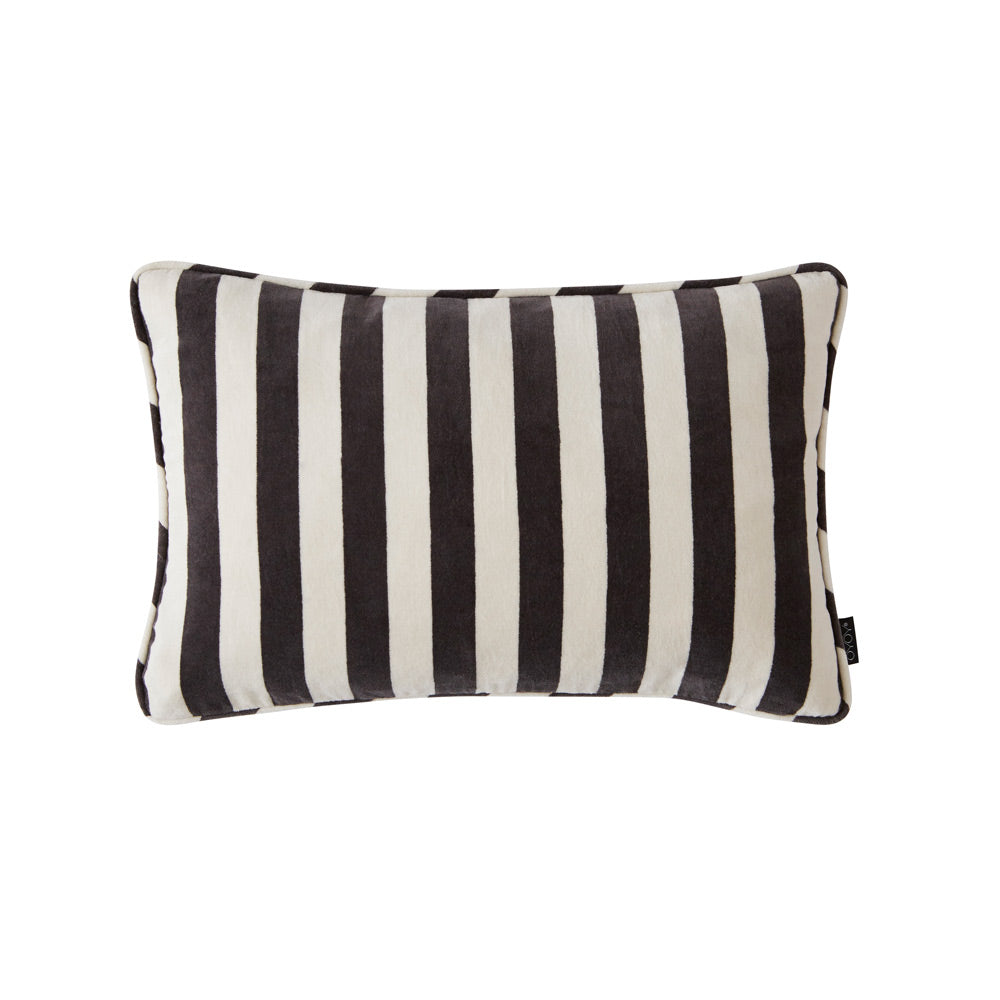 Confect Velvet Cushion - White / Dark Grey