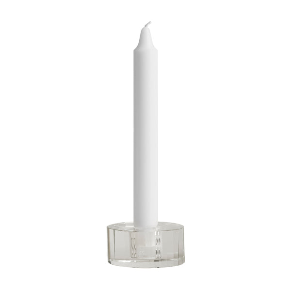 Nordic Glass Candleholder - Low Facet - Clear