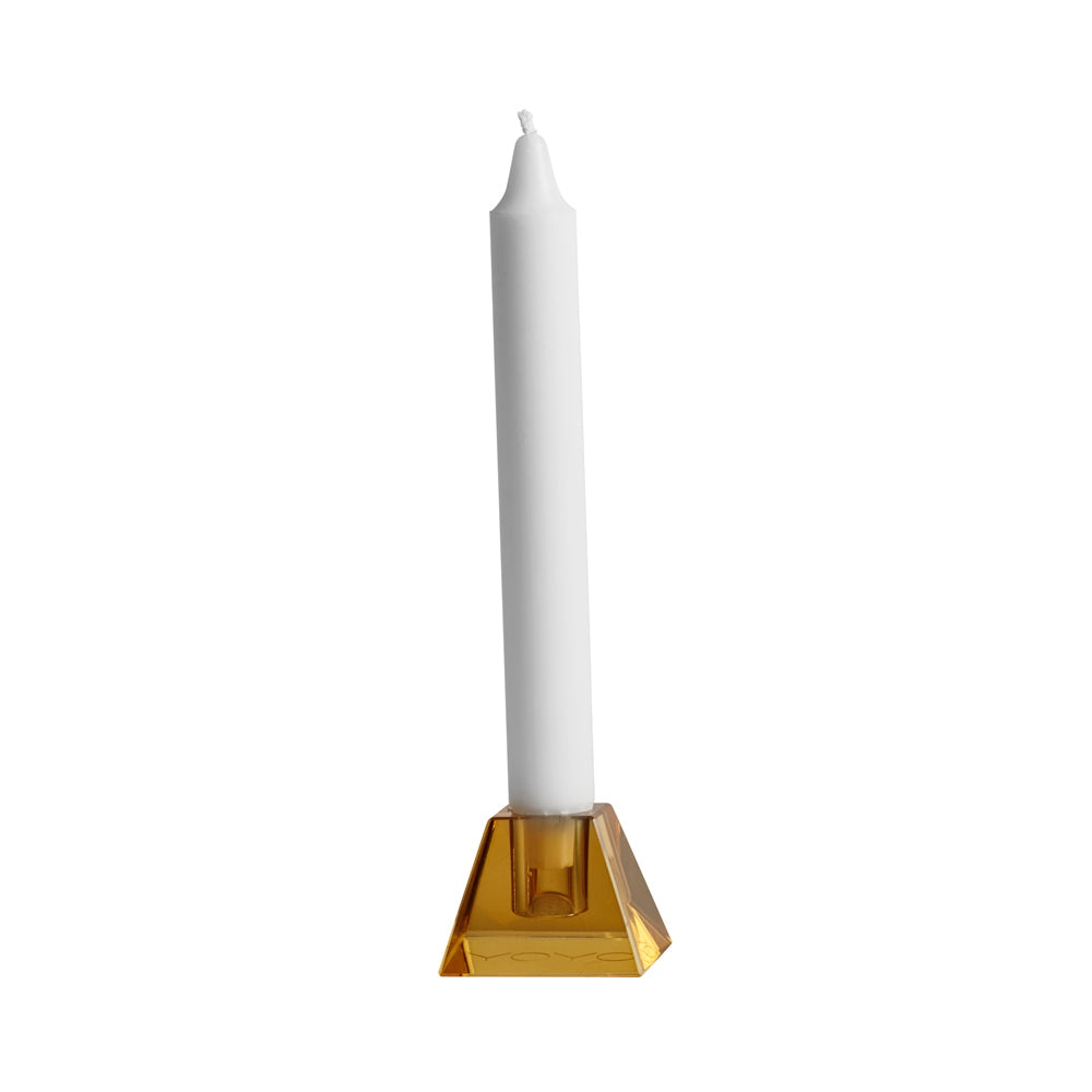 Nordic Glass Candleholder - Square - Amber