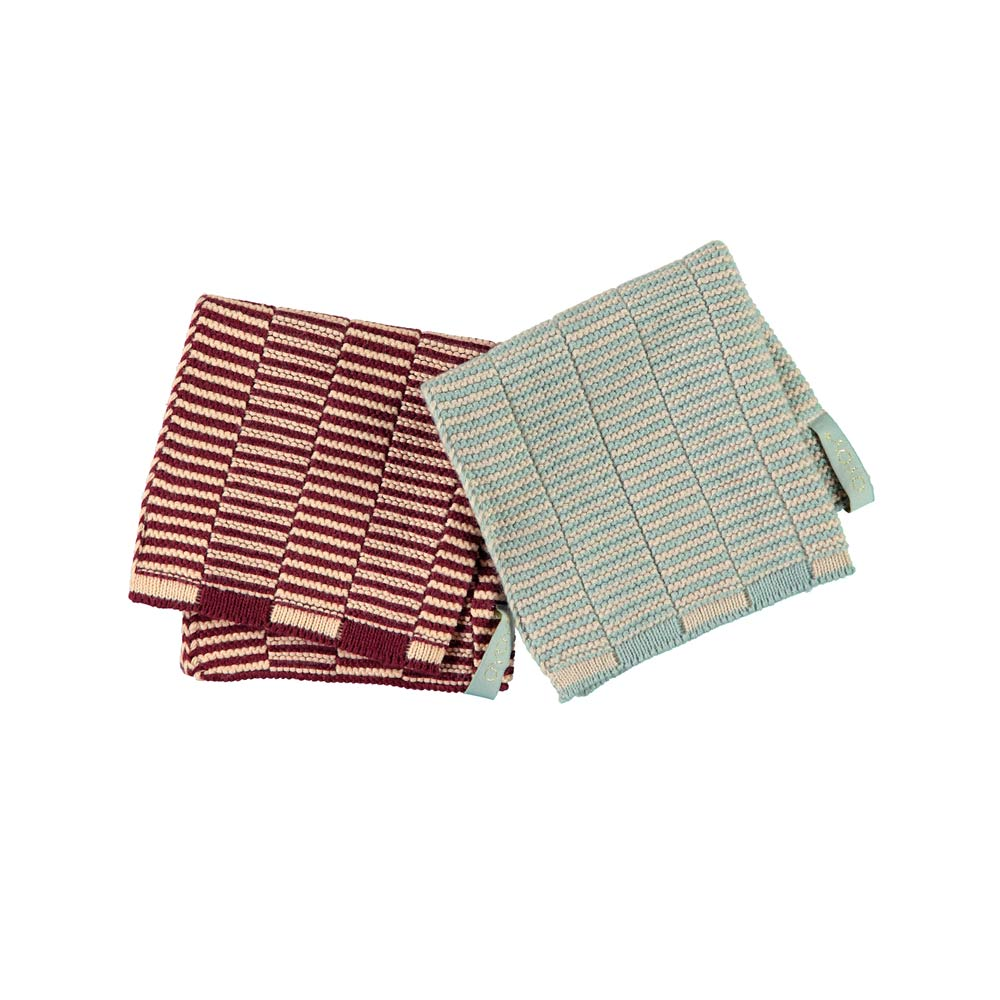 Stringa Dishcloth - Aubergine/Rose - Pale Blue/Camel