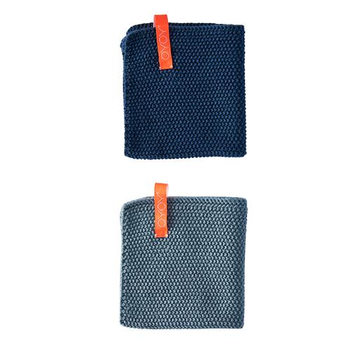 Dishcloth in Dusty Aqua and Dark Denim