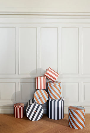 Large Round Storage Box in Stripe