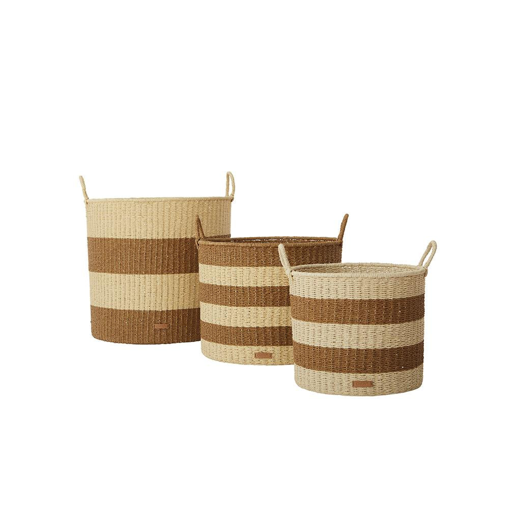 Gomi Cylinder Storage Baskets - 3 PCS/SET- Caramel