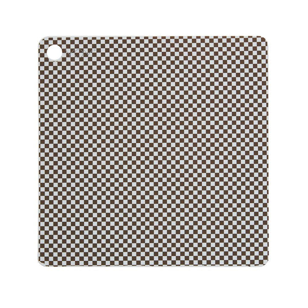 Placemat Checker - Pack of 2 - Dusty Blue/Choko