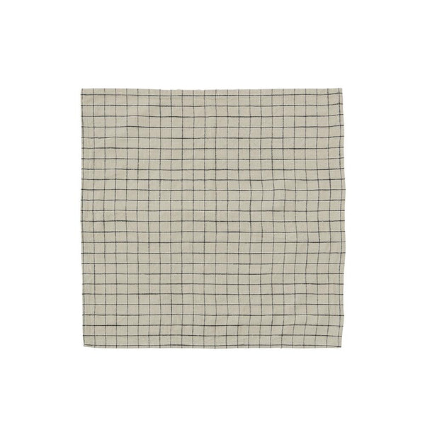 Grid Slub Napkin - Pack of 2 - Clay/Black