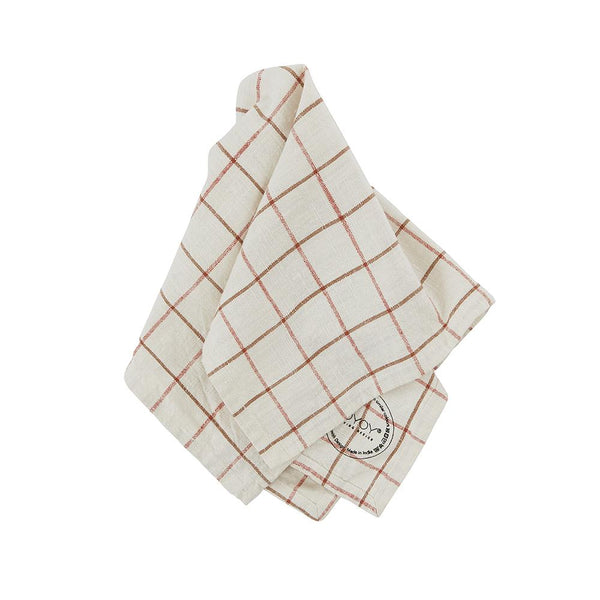 Grid Slub Napkin - Pack of 2 - Offwhite / Red