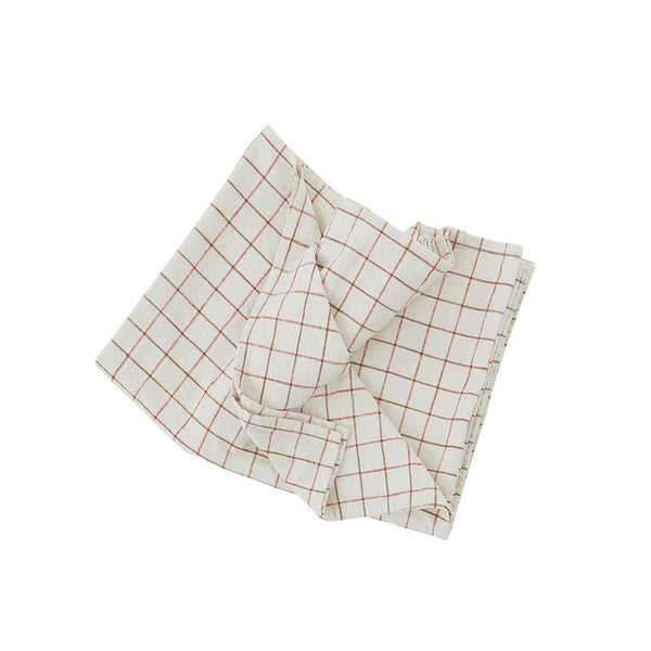 Grid Tablecloth - Small - Offwhite / Red