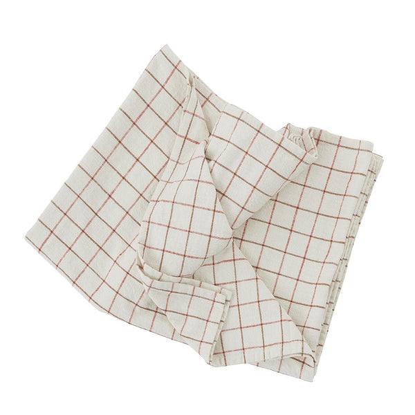 Grid Tablecloth - Large - Offwhite / Red