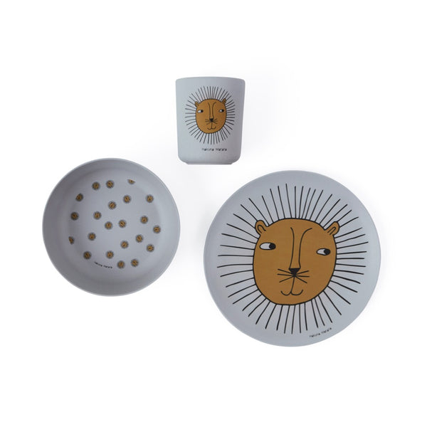 Lion Bamboo Tableware Set - Grey