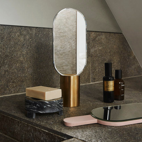 Renga Hand Mirror In Stand - Rose