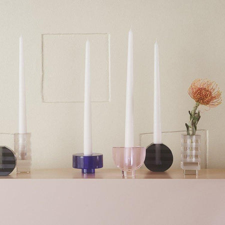 Round Graphic Candleholder in Blue